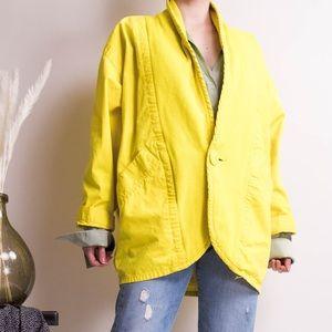Vintage 80s yellow cocoon batwing cardigan blazer